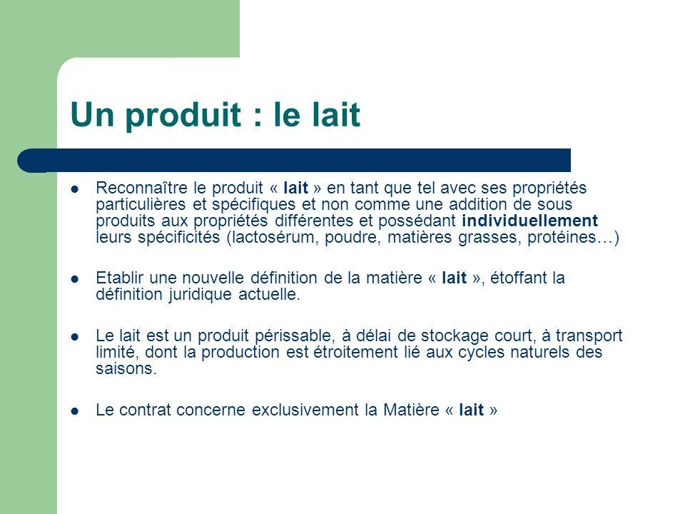 Un produit : le lait Reconnaître le produit « lait » en tant que tel avec ses propriétés particulières et spécifiques et non comme une addition de sou