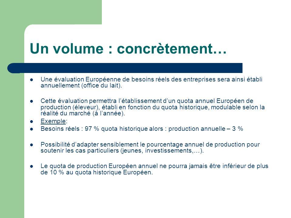 Un volume : concrètement… Une évaluation Européenne de besoins réels des entreprises sera ainsi établi annuellement (office du lait). Cette évaluation