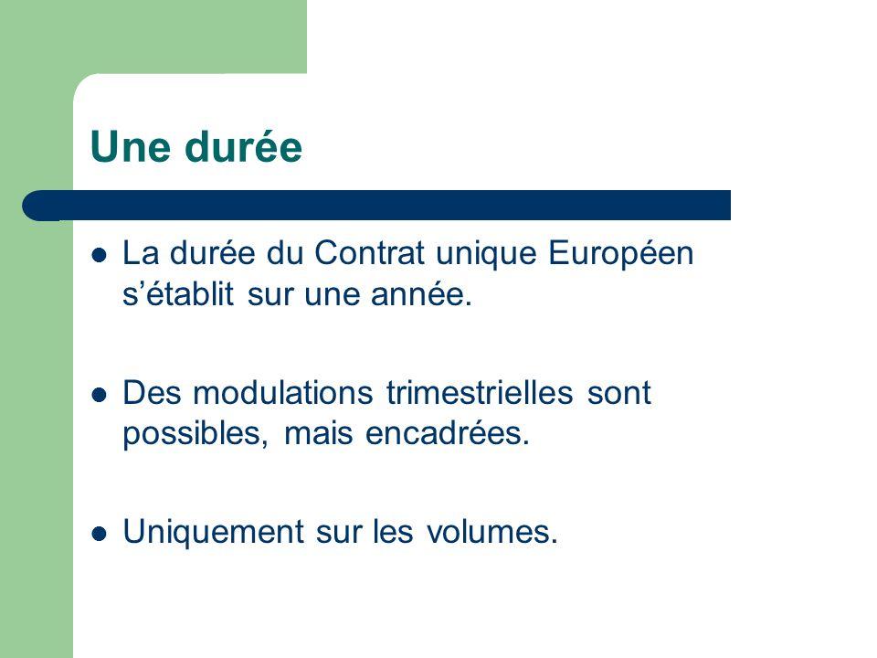 Une durée La durée du Contrat unique Européen sétablit sur une année. Des modulations trimestrielles sont possibles, mais encadrées. Uniquement sur le