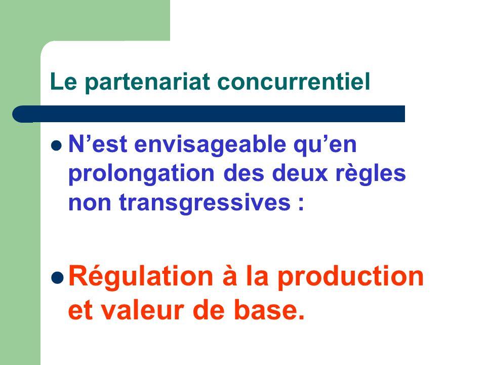 Le partenariat concurrentiel Nest envisageable quen prolongation des deux règles non transgressives : Régulation à la production et valeur de base.