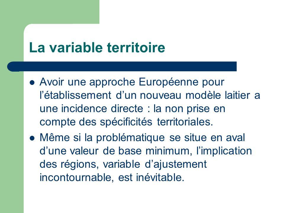 La variable territoire Avoir une approche Européenne pour létablissement dun nouveau modèle laitier a une incidence directe : la non prise en compte des spécificités territoriales.
