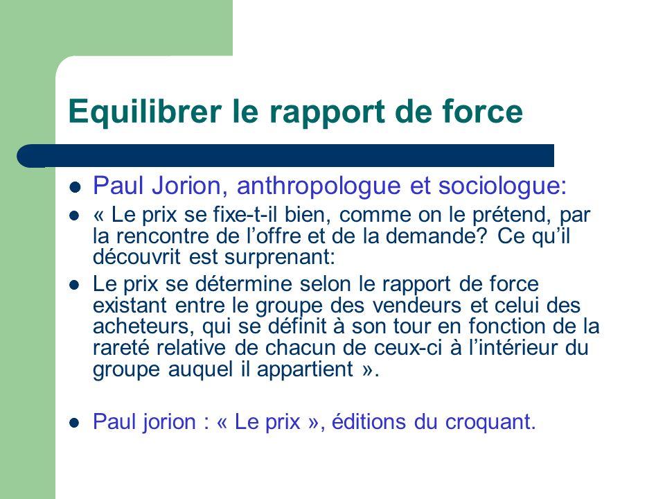 Equilibrer le rapport de force Paul Jorion, anthropologue et sociologue: « Le prix se fixe-t-il bien, comme on le prétend, par la rencontre de loffre et de la demande.