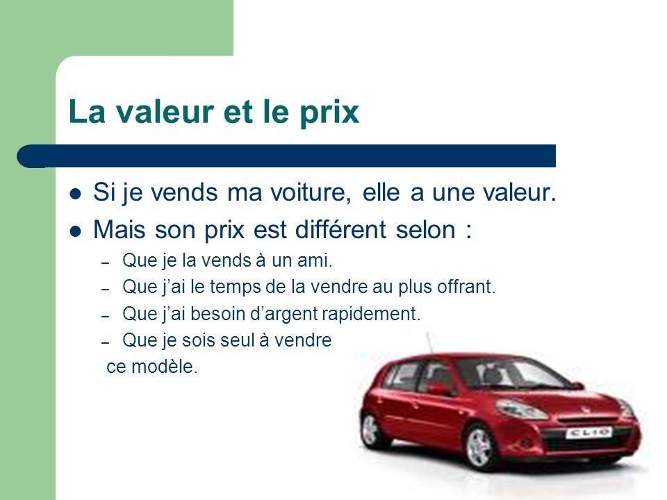 La valeur et le prix Si je vends ma voiture, elle a une valeur. Mais son prix est différent selon : – Que je la vends à un ami. – Que jai le temps de
