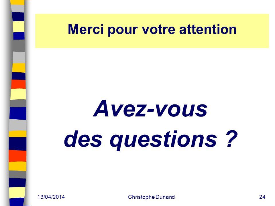 13/04/2014Christophe Dunand24 Merci pour votre attention Avez-vous des questions ?
