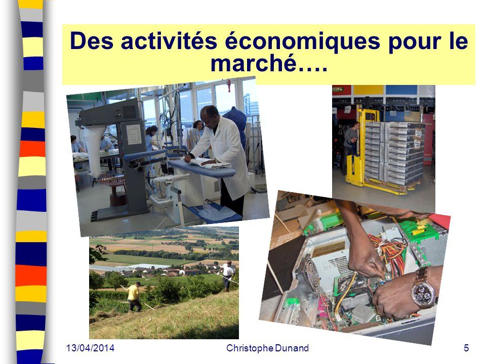 13/04/2014Christophe Dunand5 Des activités économiques pour le marché….