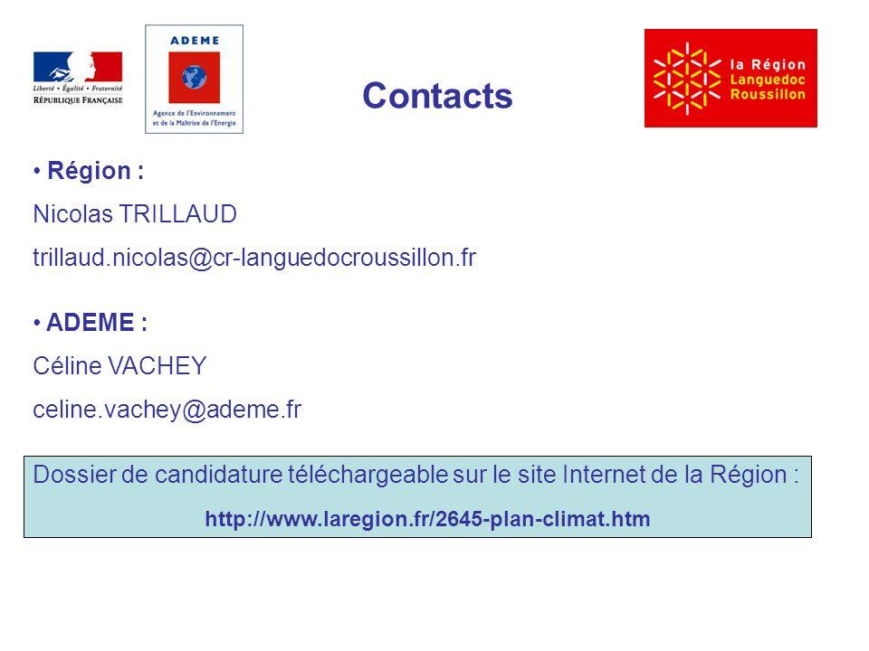 Contacts Région : Nicolas TRILLAUD trillaud.nicolas@cr-languedocroussillon.fr ADEME : Céline VACHEY celine.vachey@ademe.fr Dossier de candidature téléchargeable sur le site Internet de la Région : http://www.laregion.fr/2645-plan-climat.htm