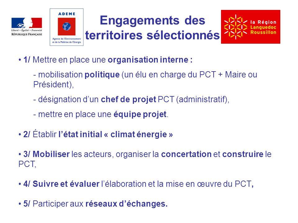 Engagements des territoires sélectionnés 1/ Mettre en place une organisation interne : - mobilisation politique (un élu en charge du PCT + Maire ou Président), - désignation dun chef de projet PCT (administratif), - mettre en place une équipe projet.