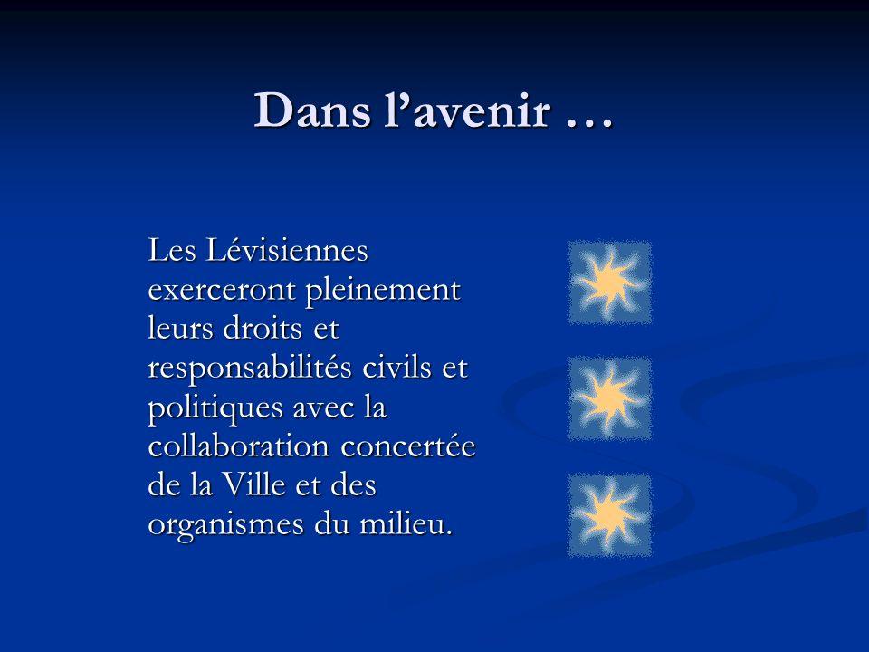 Dans lavenir … Les Lévisiennes exerceront pleinement leurs droits et responsabilités civils et politiques avec la collaboration concertée de la Ville et des organismes du milieu.