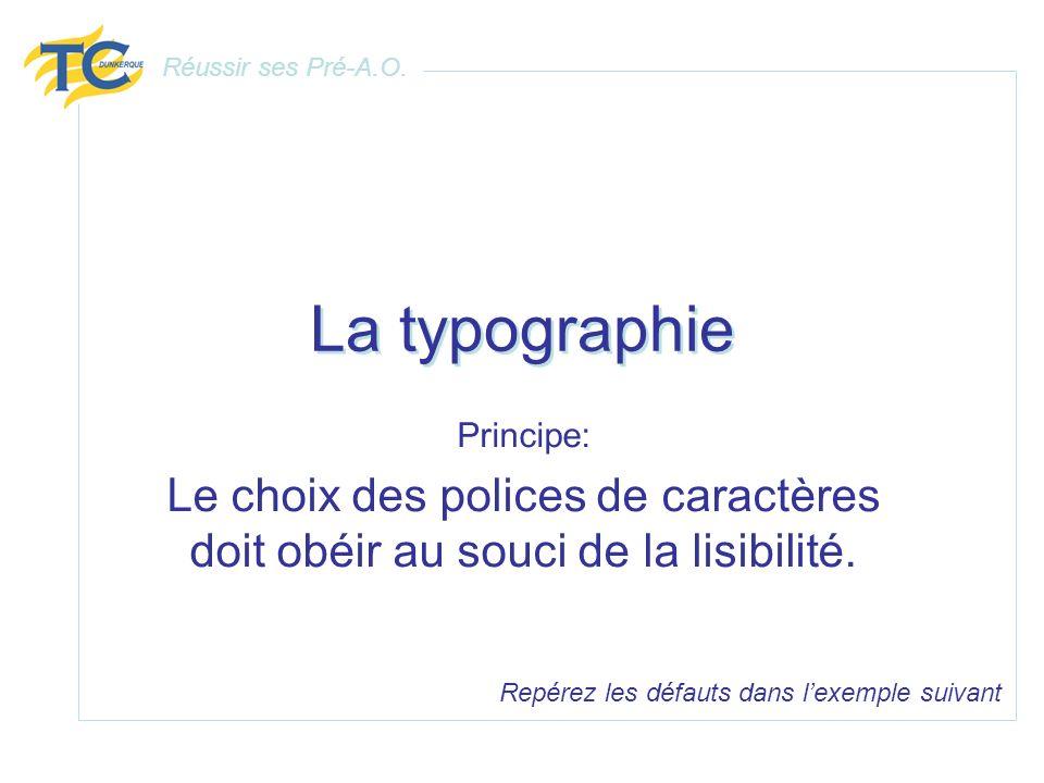 La typographie Principe: Le choix des polices de caractères doit obéir au souci de la lisibilité. Repérez les défauts dans lexemple suivant Réussir se