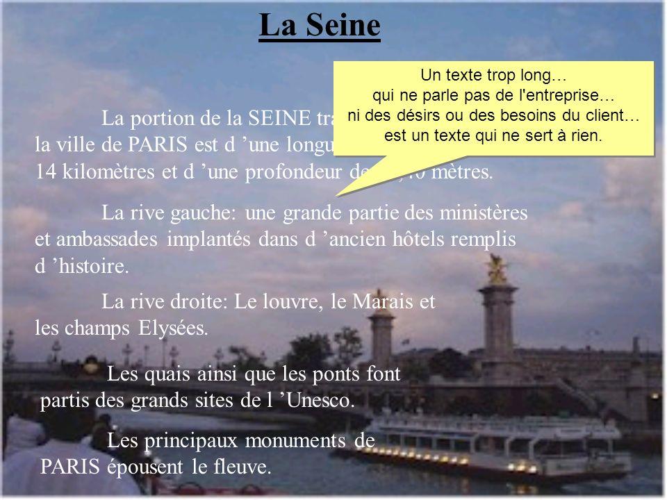 La rive droite: Le louvre, le Marais et les champs Elysées. La portion de la SEINE traversant la ville de PARIS est d une longueur de 14 kilomètres et
