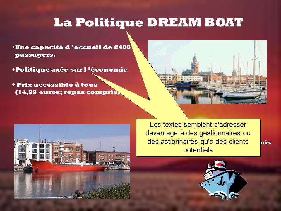 La Politique DREAM BOAT Une capacité d accueil de 8400 passagers. Politique axée sur l économie Prix accessible à tous (14,99 euros; repas compris) Vi