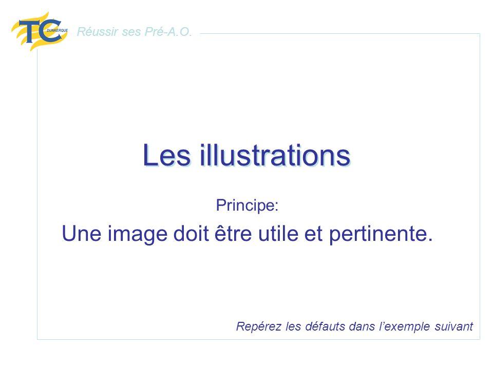 Les illustrations Principe: Une image doit être utile et pertinente. Repérez les défauts dans lexemple suivant Réussir ses Pré-A.O.