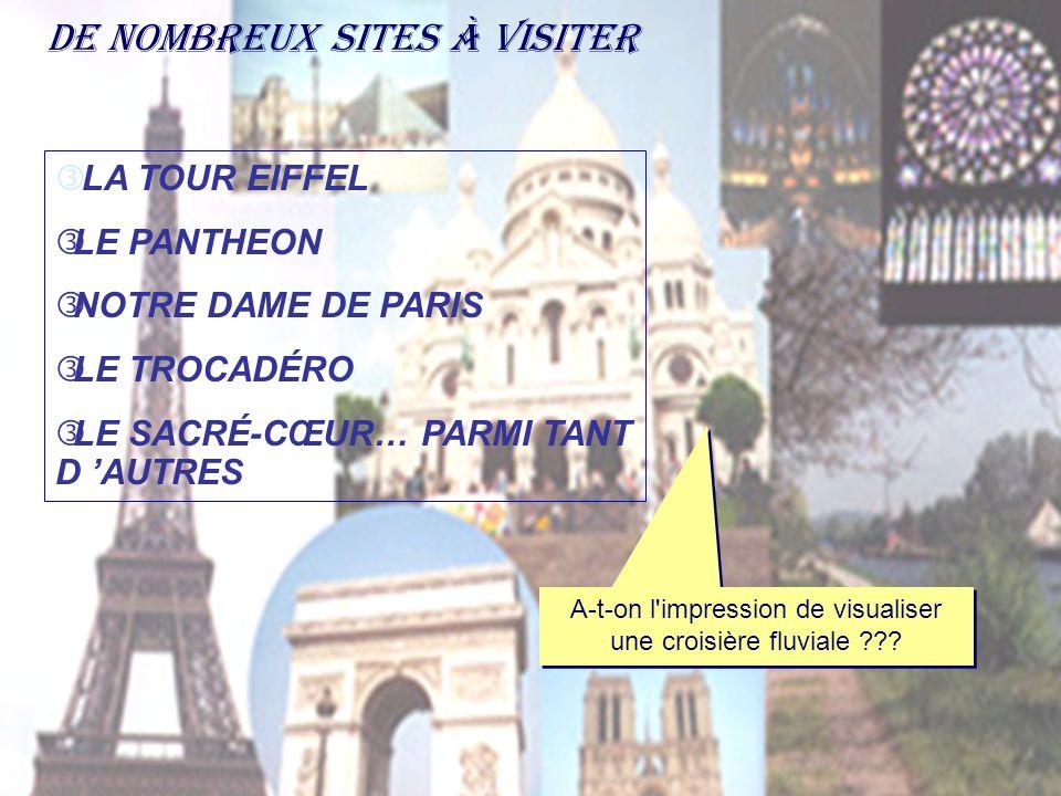 De nombreux sites à visiter LA TOUR EIFFEL ƒLE PANTHEON ƒNOTRE DAME DE PARIS ƒLE TROCADÉRO ƒLE SACRÉ-CŒUR… PARMI TANT D AUTRES A-t-on l'impression de