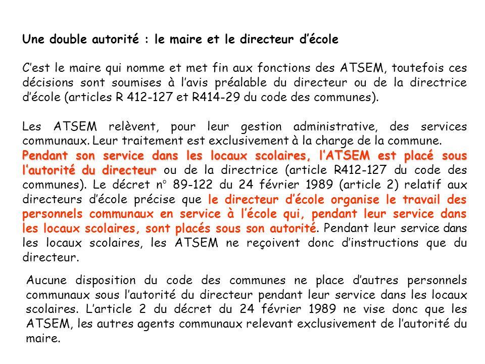 Une double autorité : le maire et le directeur décole Cest le maire qui nomme et met fin aux fonctions des ATSEM, toutefois ces décisions sont soumises à lavis préalable du directeur ou de la directrice décole (articles R 412-127 et R414-29 du code des communes).