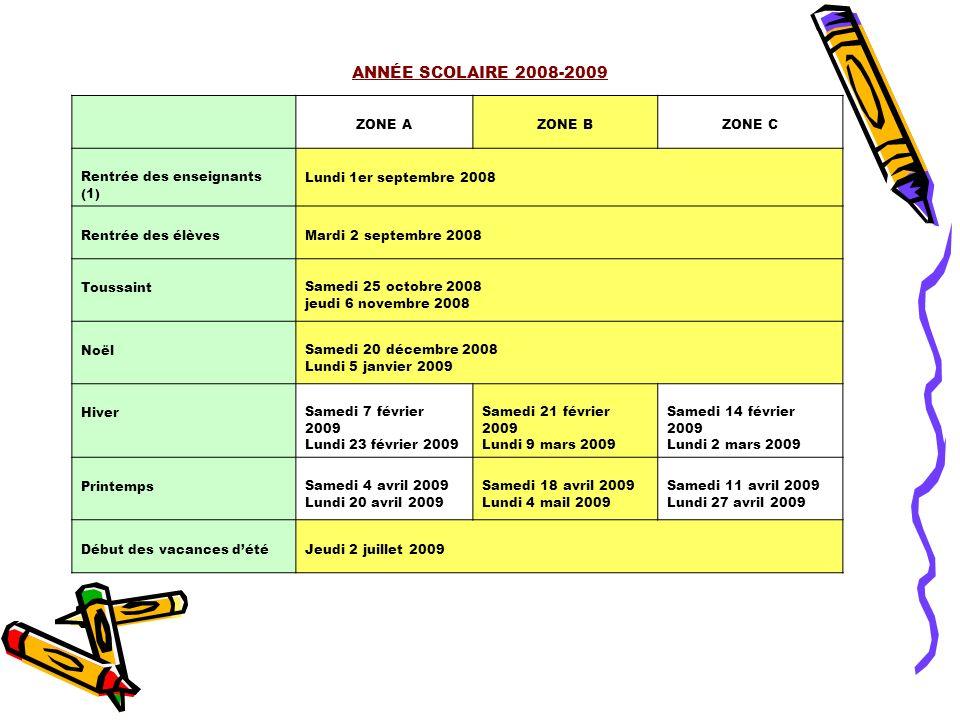 ANNÉE SCOLAIRE 2008-2009 ZONE AZONE BZONE C Rentrée des enseignants (1) Lundi 1er septembre 2008 Rentrée des élèvesMardi 2 septembre 2008 ToussaintSam