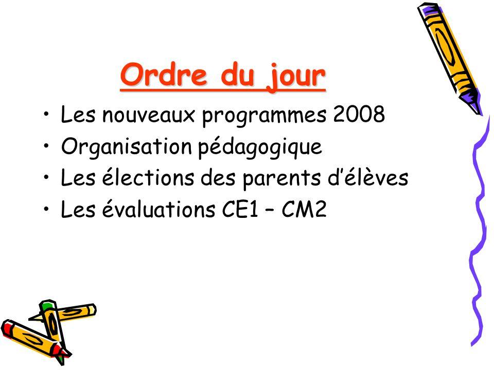 Ordre du jour Les nouveaux programmes 2008 Organisation pédagogique Les élections des parents délèves Les évaluations CE1 – CM2