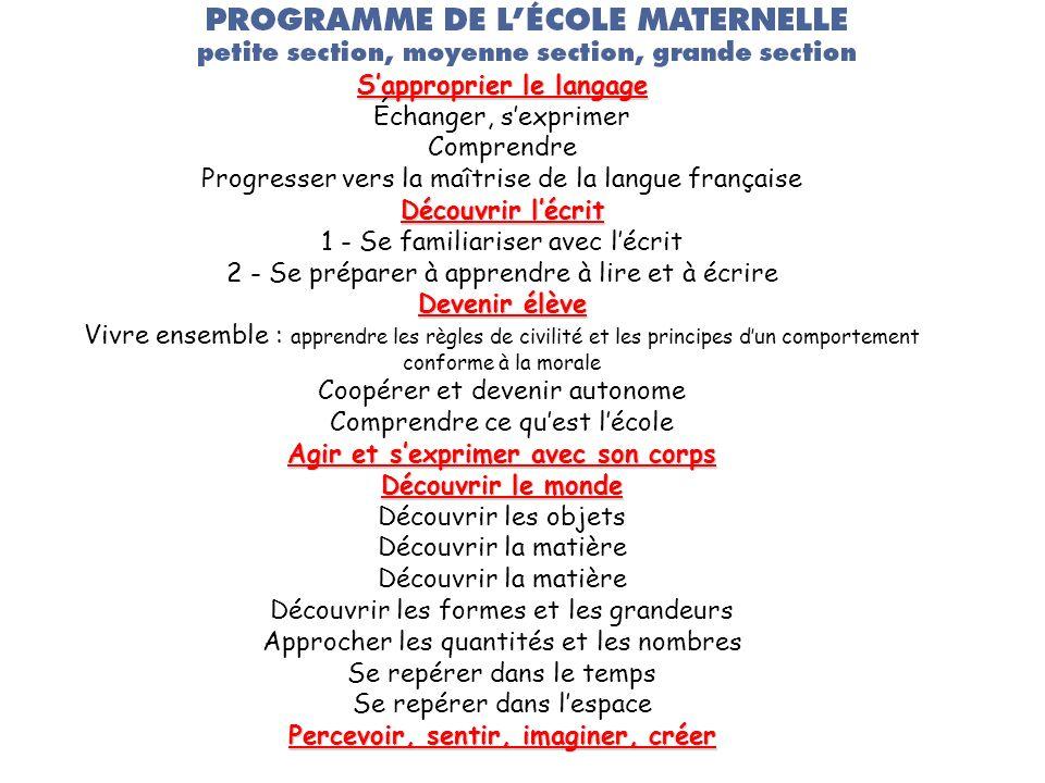 Sapproprier le langage Échanger, sexprimer Comprendre Progresser vers la maîtrise de la langue française Découvrir lécrit 1 - Se familiariser avec léc