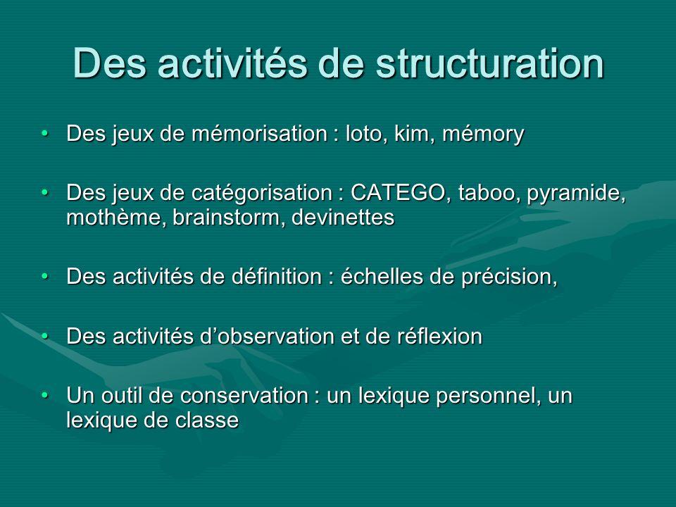 Des activités de structuration Des jeux de mémorisation : loto, kim, mémoryDes jeux de mémorisation : loto, kim, mémory Des jeux de catégorisation : CATEGO, taboo, pyramide, mothème, brainstorm, devinettesDes jeux de catégorisation : CATEGO, taboo, pyramide, mothème, brainstorm, devinettes Des activités de définition : échelles de précision,Des activités de définition : échelles de précision, Des activités dobservation et de réflexionDes activités dobservation et de réflexion Un outil de conservation : un lexique personnel, un lexique de classeUn outil de conservation : un lexique personnel, un lexique de classe
