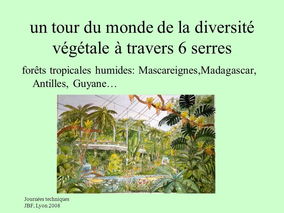 Journées techniques JBF, Lyon 2008 un tour du monde de la diversité végétale à travers 6 serres forêts tropicales humides: Mascareignes,Madagascar, Antilles, Guyane…