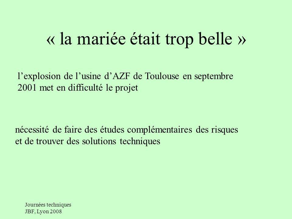 « la mariée était trop belle » lexplosion de lusine dAZF de Toulouse en septembre 2001 met en difficulté le projet nécessité de faire des études complémentaires des risques et de trouver des solutions techniques