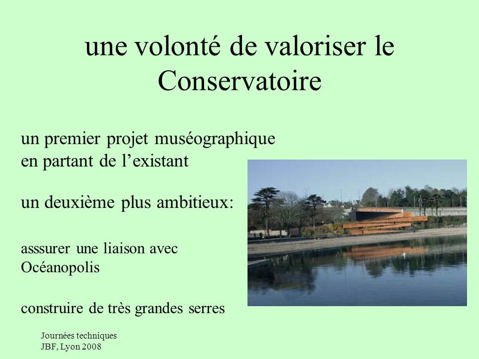 Journées techniques JBF, Lyon 2008 une volonté de valoriser le Conservatoire un premier projet muséographique en partant de lexistant un deuxième plus ambitieux: asssurer une liaison avec Océanopolis construire de très grandes serres