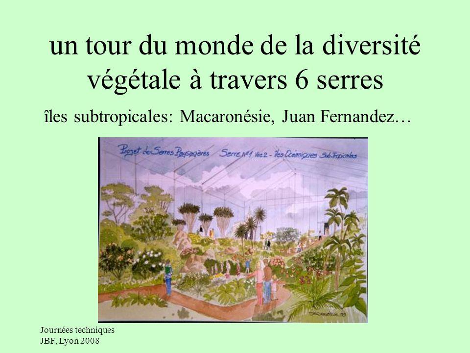 Journées techniques JBF, Lyon 2008 un tour du monde de la diversité végétale à travers 6 serres îles subtropicales: Macaronésie, Juan Fernandez…