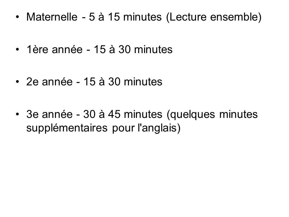 Maternelle - 5 à 15 minutes (Lecture ensemble) 1ère année - 15 à 30 minutes 2e année - 15 à 30 minutes 3e année - 30 à 45 minutes (quelques minutes su