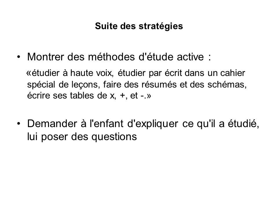 Suite des stratégies Montrer des méthodes d étude active : « étudier à haute voix, étudier par écrit dans un cahier spécial de leçons, faire des résumés et des schémas, écrire ses tables de x, +, et -.» Demander à l enfant d expliquer ce qu il a étudié, lui poser des questions