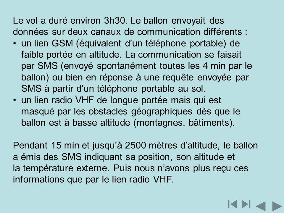 Le vol a duré environ 3h30. Le ballon envoyait des données sur deux canaux de communication différents : un lien GSM (équivalent dun téléphone portabl