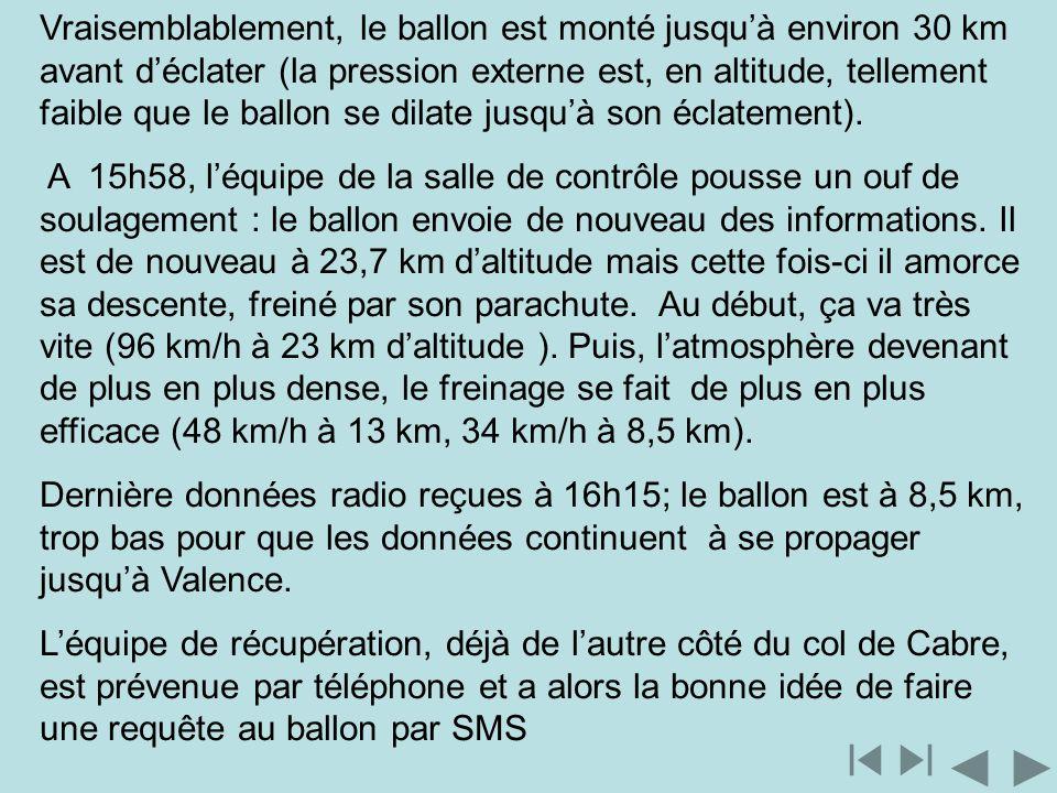 Vraisemblablement, le ballon est monté jusquà environ 30 km avant déclater (la pression externe est, en altitude, tellement faible que le ballon se di