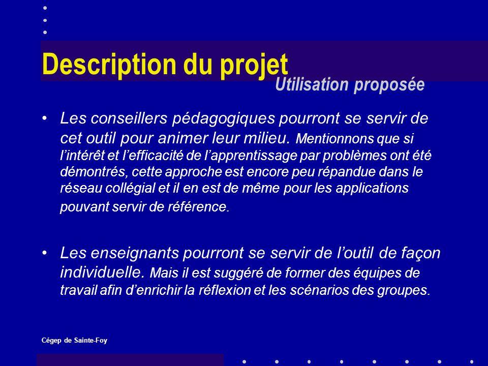 Cégep de Sainte-Foy Description du projet Les conseillers pédagogiques pourront se servir de cet outil pour animer leur milieu.