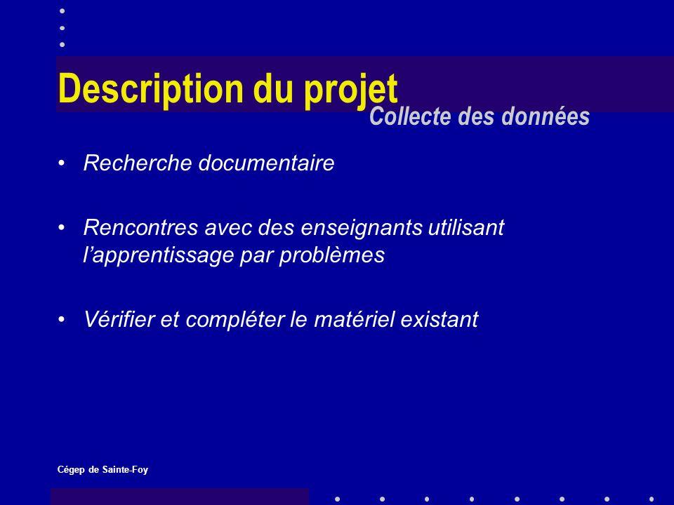 Cégep de Sainte-Foy Description du projet Recherche documentaire Rencontres avec des enseignants utilisant lapprentissage par problèmes Vérifier et compléter le matériel existant Collecte des données