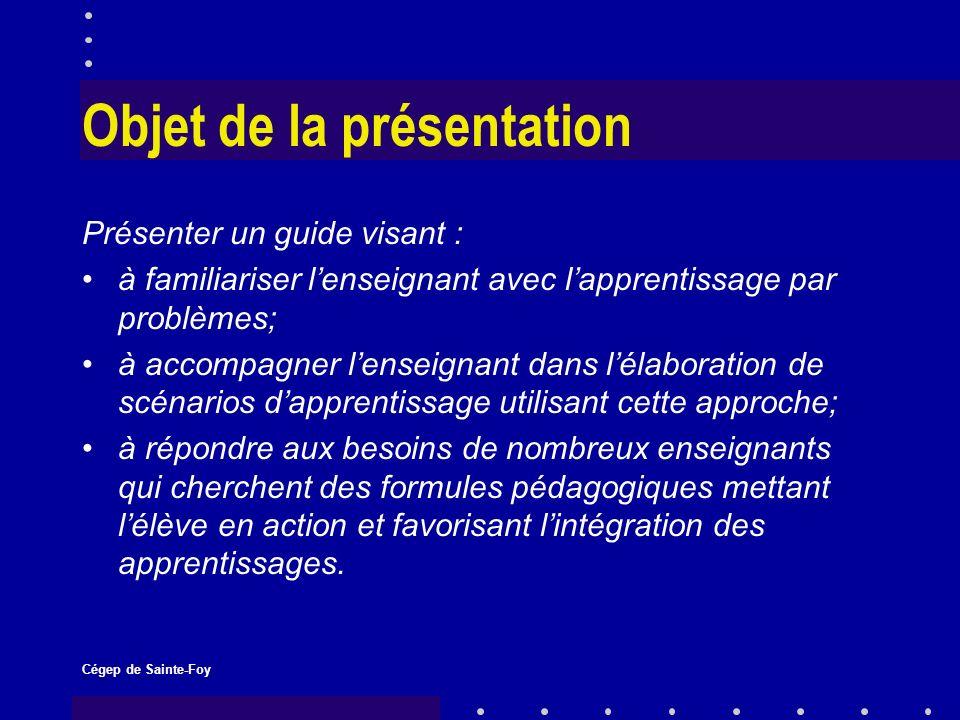 Cégep de Sainte-Foy Les chargés de projet Lise Ouellet a fait son mémoire de maîtrise sur lapprentissage par problèmes et elle a publié, en collaboration avec Louise Gilbert, un ouvrage sur le sujet.