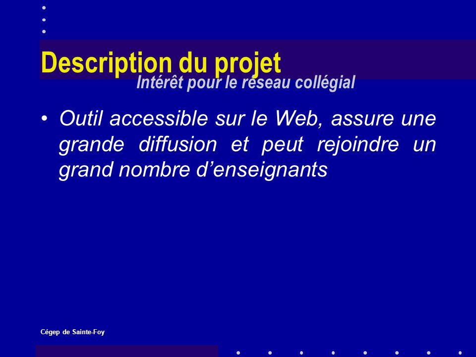 Cégep de Sainte-Foy Description du projet Outil accessible sur le Web, assure une grande diffusion et peut rejoindre un grand nombre denseignants Intérêt pour le réseau collégial