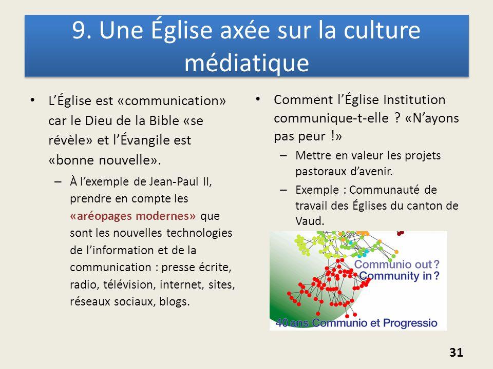 9. Une Église axée sur la culture médiatique LÉglise est «communication» car le Dieu de la Bible «se révèle» et lÉvangile est «bonne nouvelle». – À le