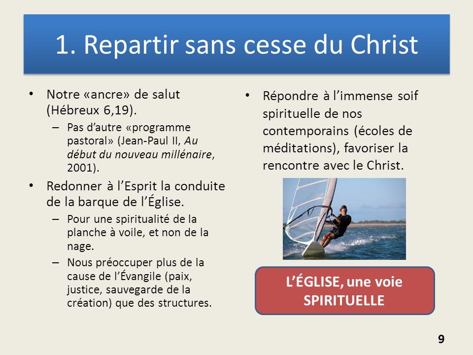 1. Repartir sans cesse du Christ Notre «ancre» de salut (Hébreux 6,19). – Pas dautre «programme pastoral» (Jean-Paul II, Au début du nouveau millénair