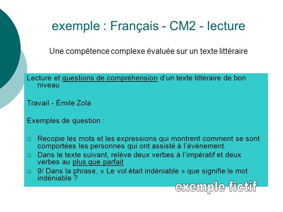 exemple : Français - CM2 - lecture Une compétence complexe évaluée sur un texte littéraire Lecture et questions de compréhension dun texte littéraire