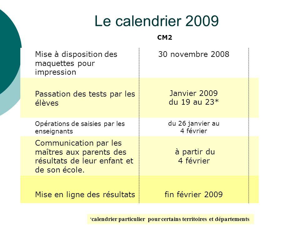 Le calendrier 2009 CM2 Mise à disposition des maquettes pour impression 30 novembre 2008 Passation des tests par les élèves Janvier 2009 du 19 au 23*