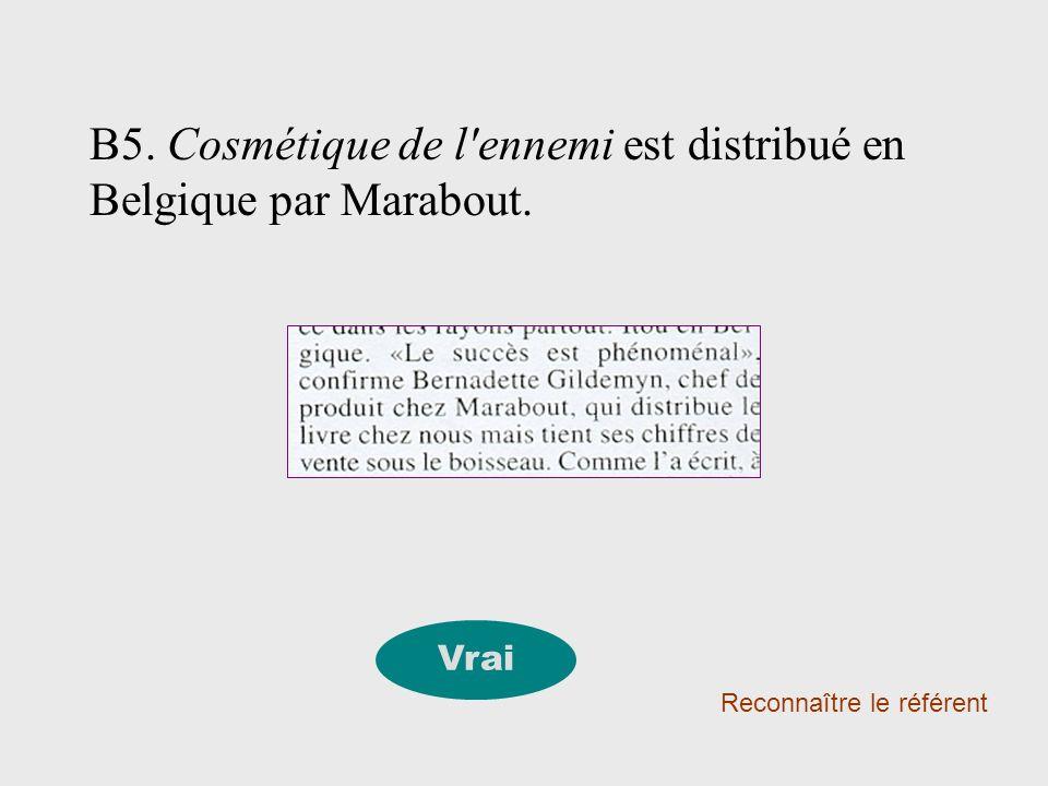 B5. Cosmétique de l'ennemi est distribué en Belgique par Marabout. Reconnaître le référent Vrai