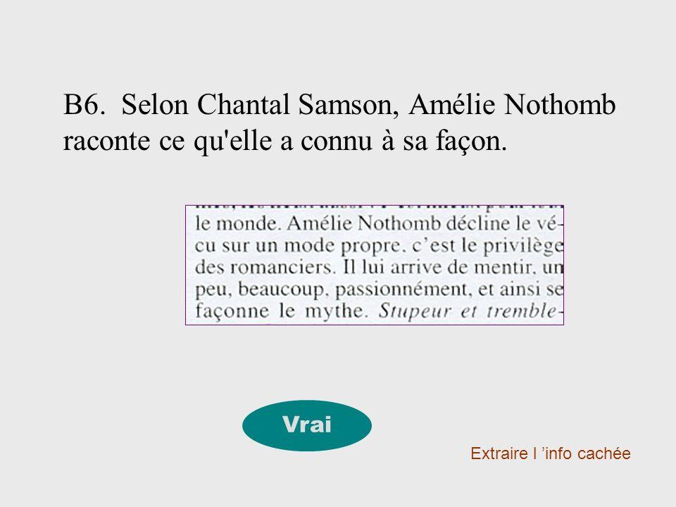 B6. Selon Chantal Samson, Amélie Nothomb raconte ce qu'elle a connu à sa façon. Extraire l info cachée Vrai