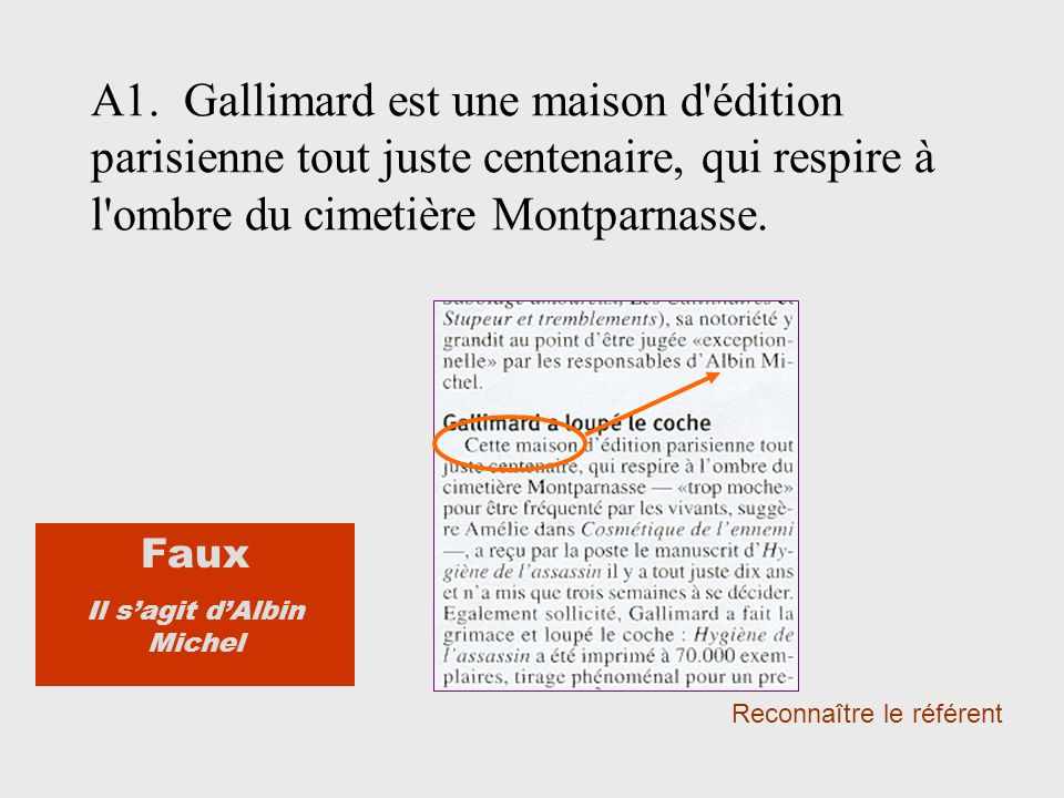 A1. Gallimard est une maison d'édition parisienne tout juste centenaire, qui respire à l'ombre du cimetière Montparnasse. Reconnaître le référent Faux