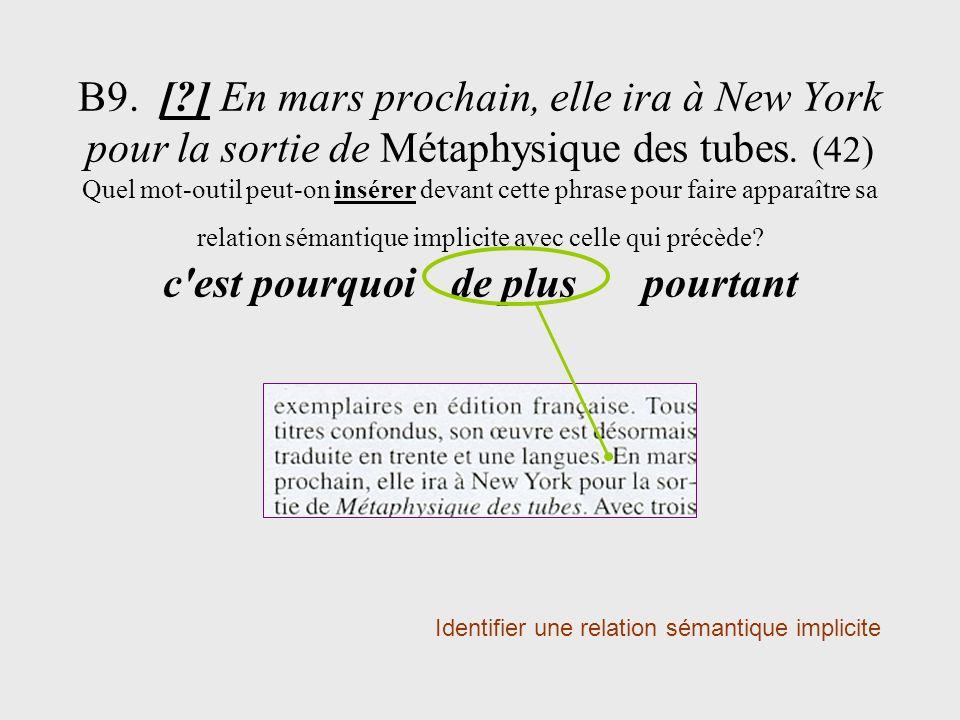 B9. [?] En mars prochain, elle ira à New York pour la sortie de Métaphysique des tubes. (42) Quel mot-outil peut-on insérer devant cette phrase pour f