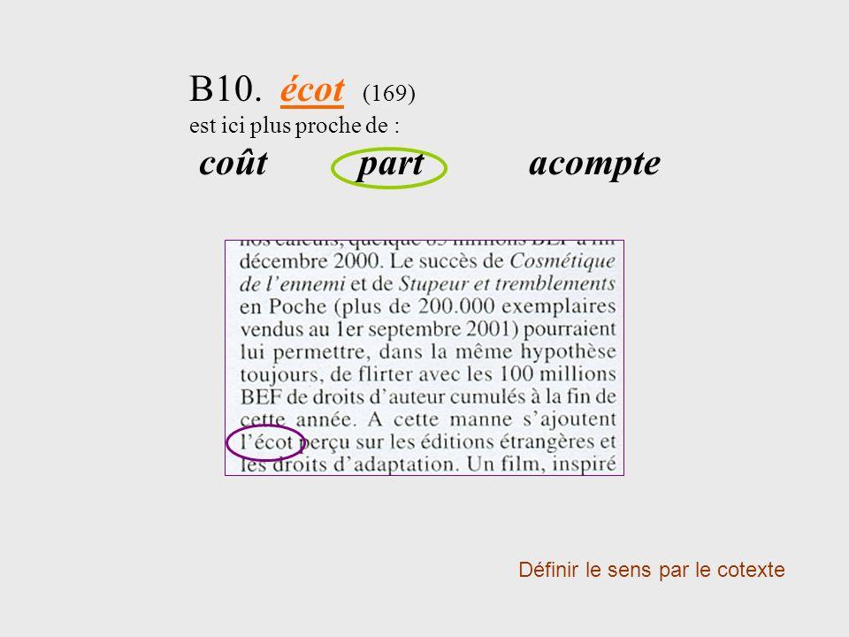 B10. écot (169) est ici plus proche de : coûtpartacompte Définir le sens par le cotexte