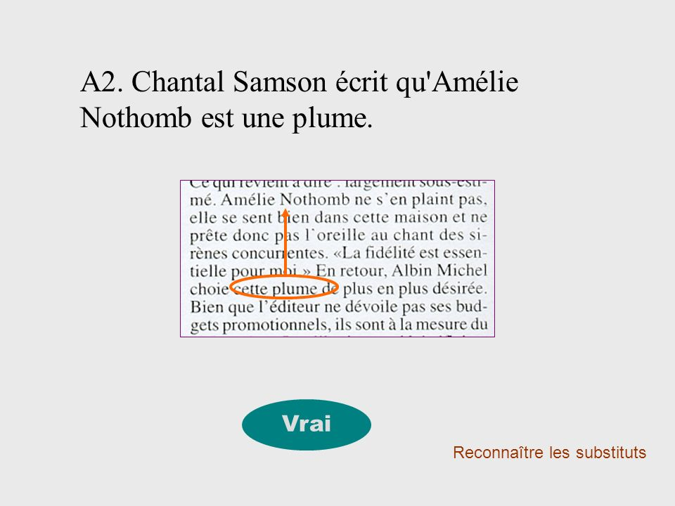 A2. Chantal Samson écrit qu'Amélie Nothomb est une plume. Reconnaître les substituts Vrai