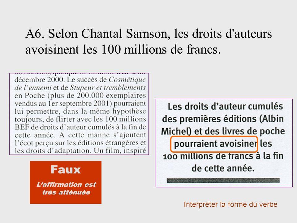 A6. Selon Chantal Samson, les droits d'auteurs avoisinent les 100 millions de francs. Interpréter la forme du verbe Faux Laffirmation est très atténué
