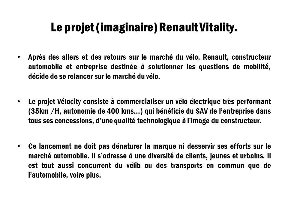 Le projet (imaginaire) Renault Vitality. Après des allers et des retours sur le marché du vélo, Renault, constructeur automobile et entreprise destiné