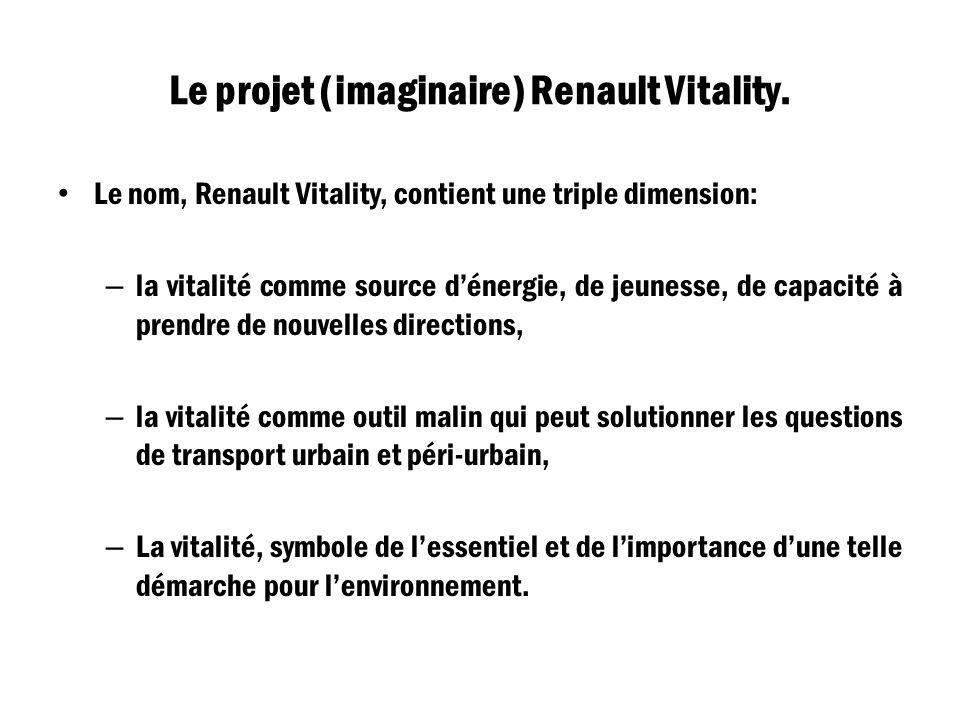 Le projet (imaginaire) Renault Vitality. Le nom, Renault Vitality, contient une triple dimension: – la vitalité comme source dénergie, de jeunesse, de