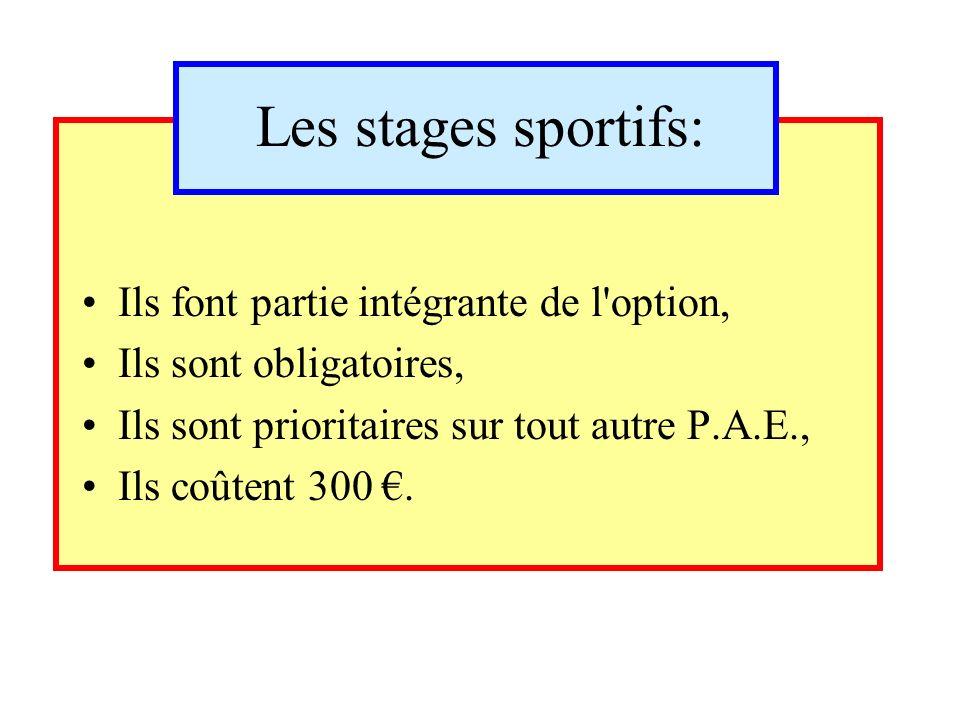 Les stages sportifs: Ils font partie intégrante de l option, Ils sont obligatoires, Ils sont prioritaires sur tout autre P.A.E., Ils coûtent 300.