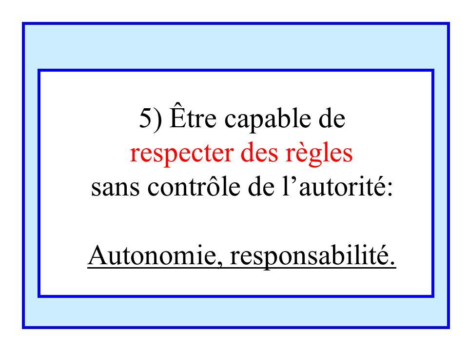 5) Être capable de respecter des règles sans contrôle de lautorité: Autonomie, responsabilité.