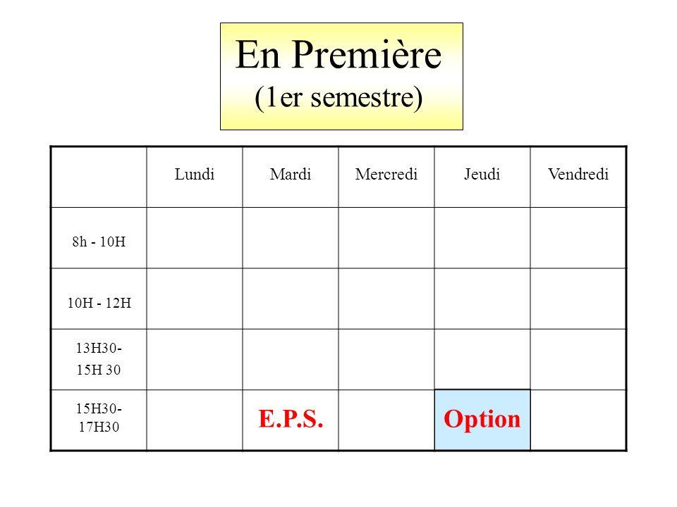 En Première (1er semestre) LundiMardiMercrediJeudiVendredi 8h - 10H 10H - 12H 13H30- 15H 30 15H30- 17H30 E.P.S.Option